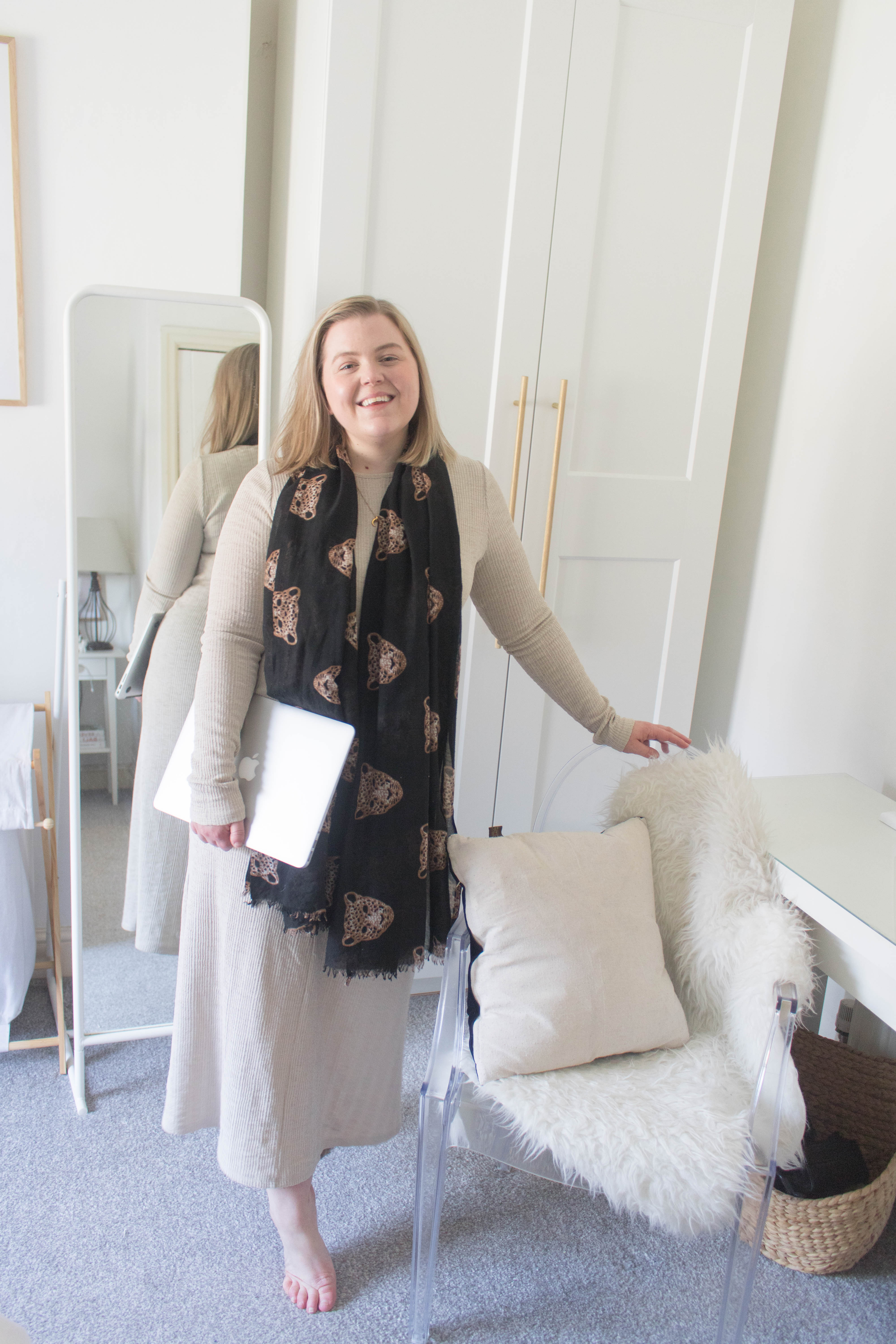 an edited lifestyle style work from home uniform