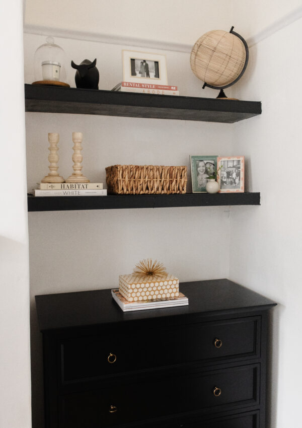 an edited lifestyle interiors styling dark built-ins