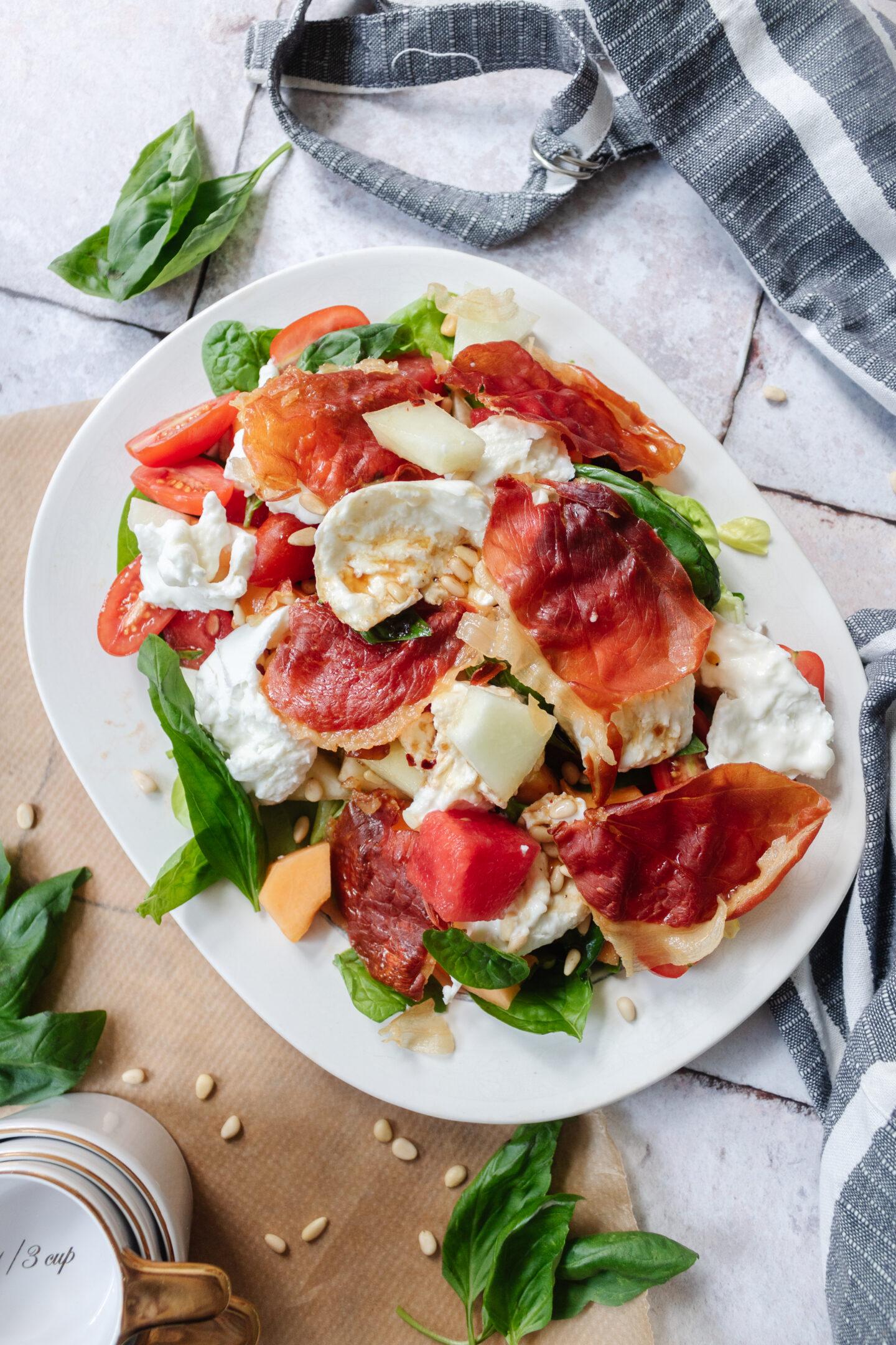 an edited lifestyle recipes melon, burrata and prosciutto salad
